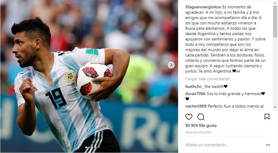Argentina: Agüero agradeció a todos, menos a Sampaoli