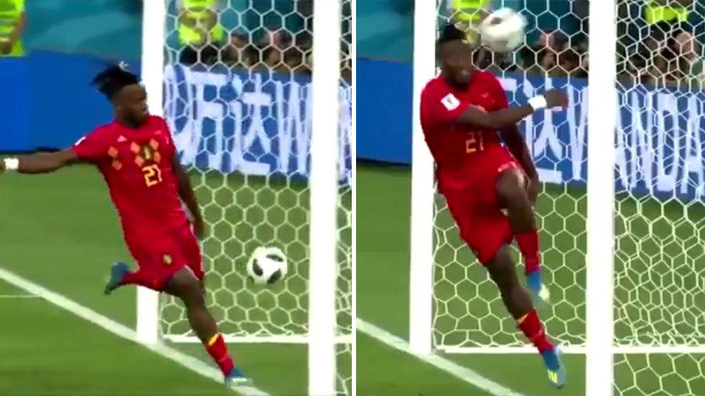Batshuayi se 'comió' un autobalonazo celebrando el gol belga.
