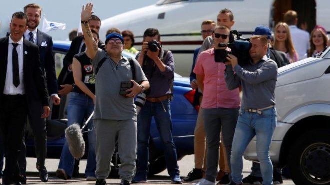 Maradona llegó este lunes a Bielorrusia