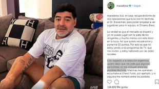 Maradona en su cuenta de Instagram