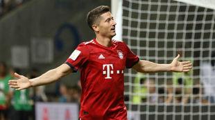 Lewandowski celebra un gol con el Bayern esta temporada.