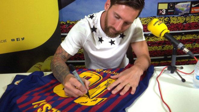 Messi, tras la entrevista.