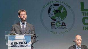 Agnelli, presidente de la Juventus, en la reunión de la ECA.