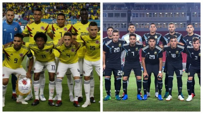 Fotomontaje con los onces de Argentina y Colombia.