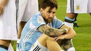 Leo Messi luego perder la final de la Copa América ante Chile en 2016