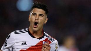 Exequiel Palacios gritando su gol ante Racing.