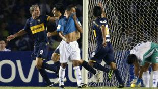 Palermo festeja en la última serie de Boca ante Cruzeiro