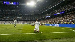 Isco celebra el primer gol del Madrid ante la Roma.
