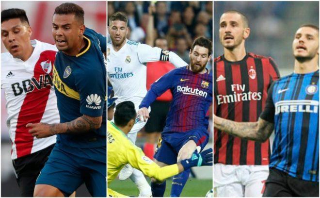 Boca vs River, Barcelona vs Real Madrid e Inter vs Milan, de los...