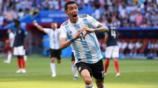 Di María tras convertir su gol ante Francia en los octavos del...