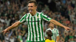 Lo Celso celebra su primer gol con la camiseta del Betis.