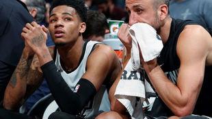 Murray y Ginóbili durante un partido de los Spurs