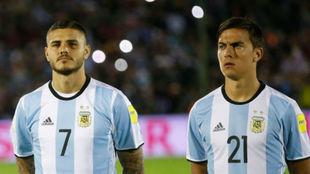 Mauro Icardi y Paulo Dybala, el ataque argentino contra Brasil.