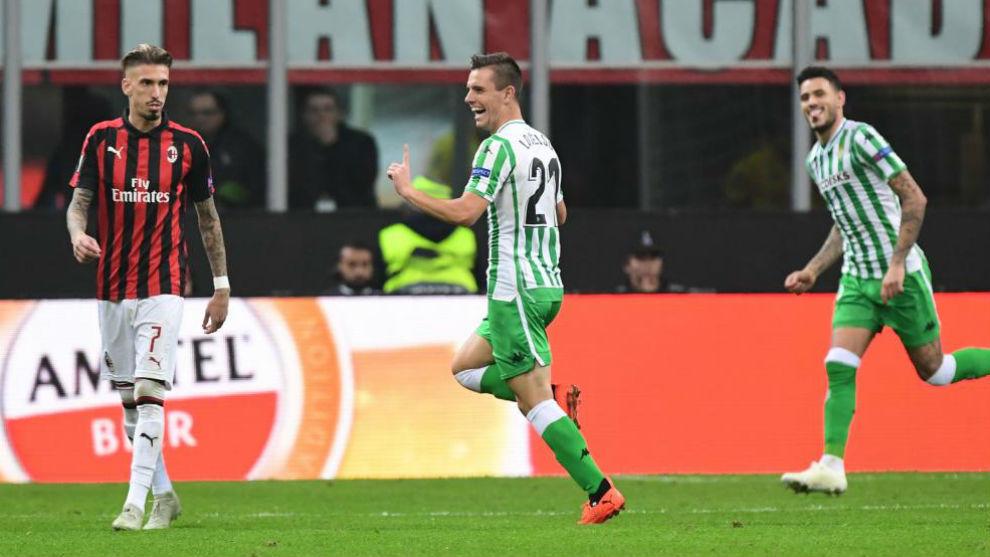 Lo Celso celebra su gol ante el Milan.