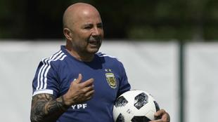 Sampaoli, en un entrenamiento con la selección argentina.
