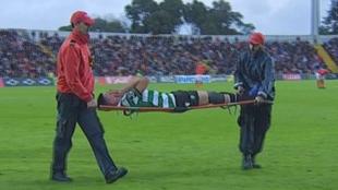 Rodrigo Battaglia salió en camilla y llorando