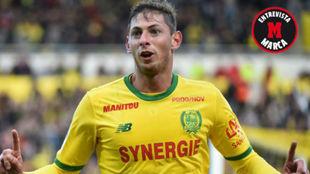 Sala celebra uno de sus últimos goles con el Nantes