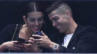 Georgina Rodríguez y Cristiano Ronaldo en las Finales ATP de Londres.