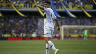 Espinoza celebra su gol ante Patronato.