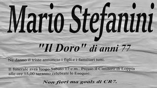 """Esquela de Mario Stefanini: """" """"No quiero flores, sino goles..."""