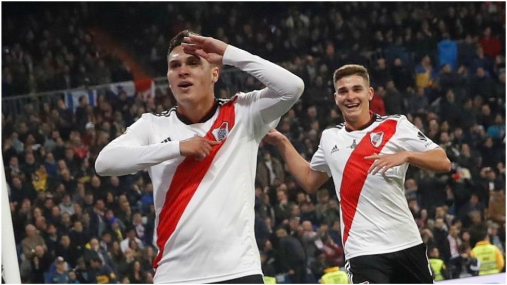 Así celebró Juan Fernando Quintero su gol ante Boca.