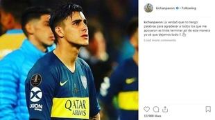 El posteo de Cristian Pavón en Instagram.