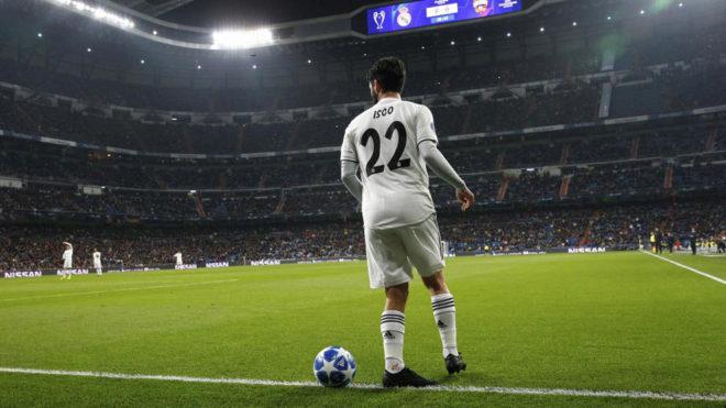 Isco en un partido en el Bernabéu.