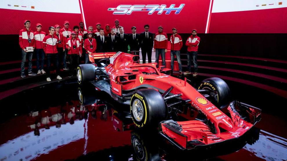 La presentación en Maranello del coche del año pasado.