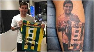 Messi posa con la camiseta de Lamberti, quien se tatúo el momento