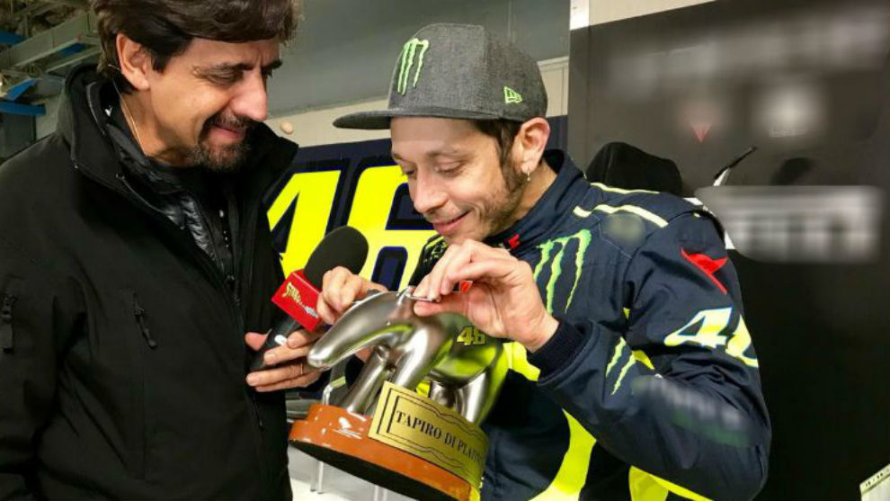 Rossi, recibiendo el 'Tapiro de Oro'.