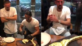 Ribéry antes de comerse el chuletón bañdo en oro.