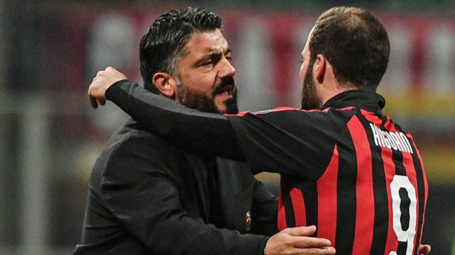 Gattuso no sabe si Higuaín seguirá en Milan
