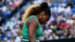 Serena Williams, durante su partido frente a Halep.