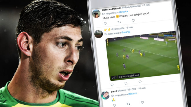 El mundo del fútbol reza por Emiliano Sala