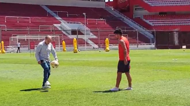Ricardo Bochini y Martín Benítez en el Libertadores de Ámerica