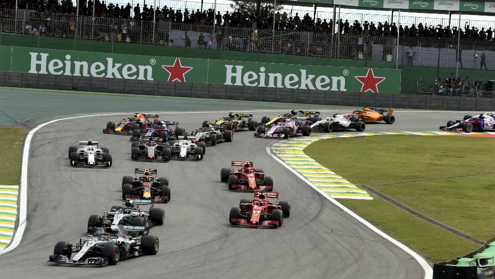 Salida del Gran Premio de Brasil 2018.