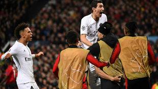 Di María celebra uno de los goles del PSG.