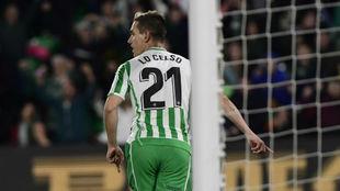 Lo Celso celebra su último gol contra el Alavés.