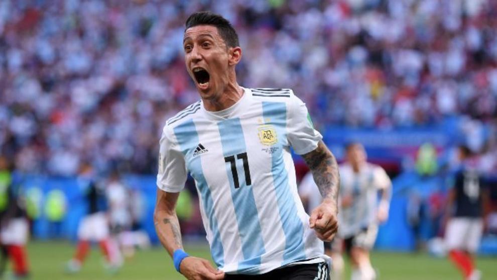 Di María grita su golazo ante Francia en el Mundial
