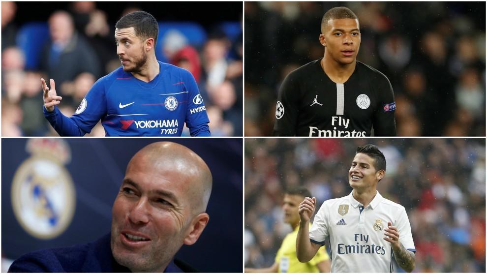 Eden Hazard, Kylian Mbappé, Zinedine Zidane y James Rodríguez.