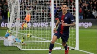 Así celebra Di Maria uno de sus goles con el PSG ante el Marsella.