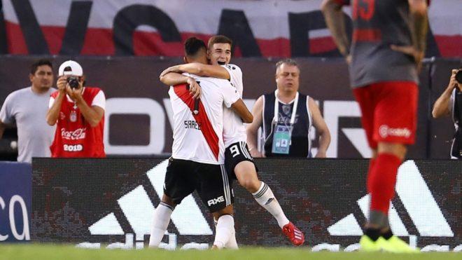 Julián Álvarez, delantero de River autor del primer gol ante...
