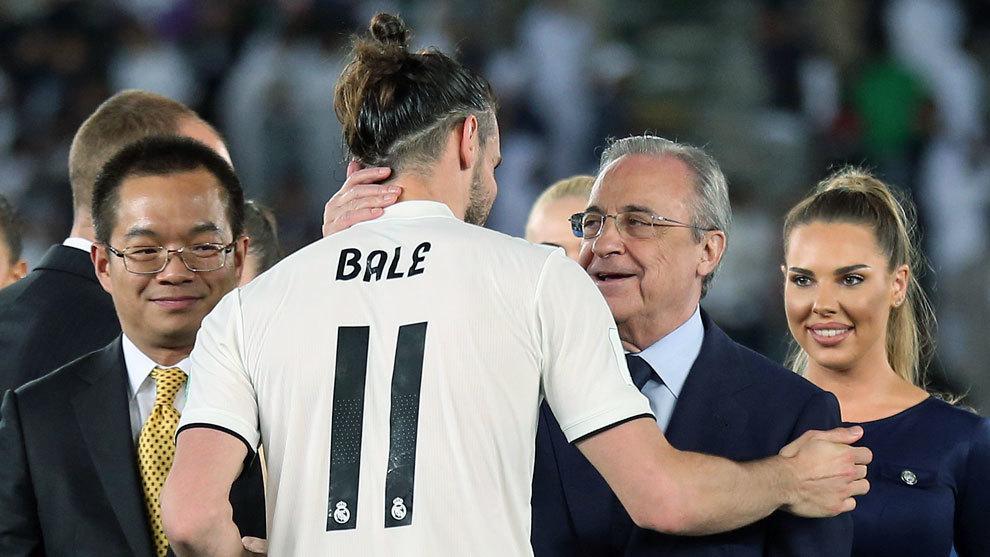 Gareth Bale y Florentino Pérez, presidente del Real Madrid