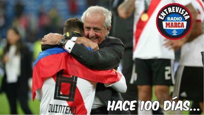 Rodolfo D'Onofrio, presidente de River, tras ganar la Libertadores en...