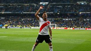 El Pity Martínez celebrando el triunfo ante Boca