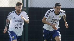 Messi y Di María, con Argentina.