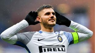 Icardi celebra un gol con el Inter de Milán.