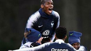 Pogba, en la concentración de la selección francesa.