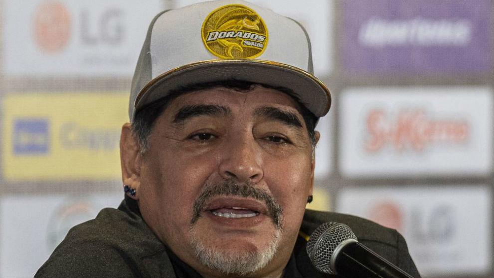 Maradona, durante una conferencia de prensa con Los Dorados.