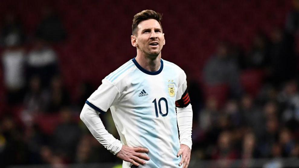 Messi, con cara de frustración tras la derrota contra Venezuela.